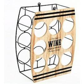 Stojak na wino drewno metalowy plaster miodu 8 butelek