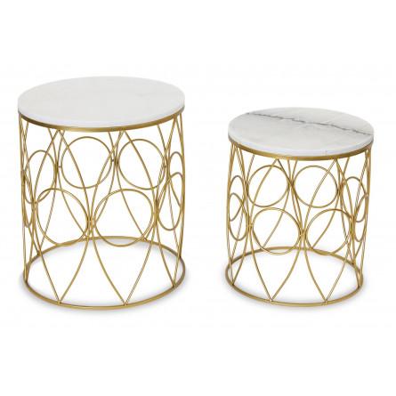Stolik Kawowy 2 Szt Złoty Marmur Dekoracje Premium Phu Dan Jarpol