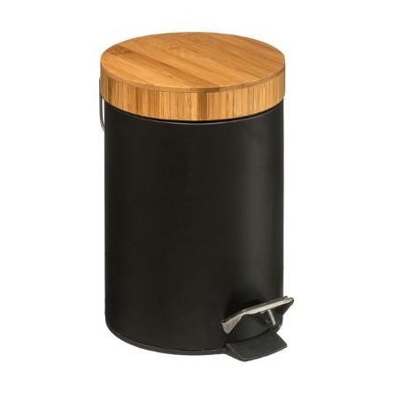 Kosz łazienkowy nowoczesny bambus metal czarny ECO