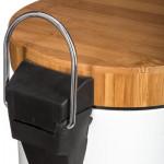 Kosz łazienkowy nowoczesny bambus metal biały ECO