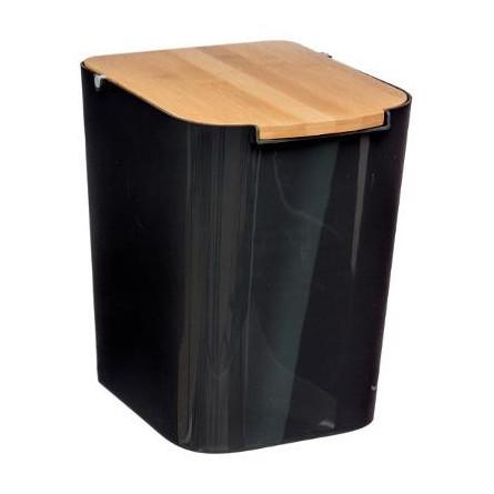Kosz łazienkowy 5 L bambus metal czarny ECO