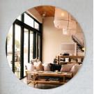 Lustro 50 cm okrągłe ścienne bezramowe miedziane