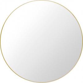Lustro okrągłe 70 cm złote metalowa rama ścienne