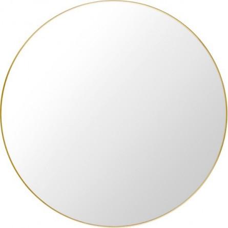 Lustro okrągłe 80 cm złote metalowa rama ścienne