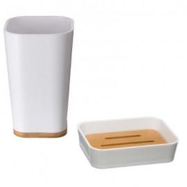 mydelniczka i kubek zestaw biały bambus