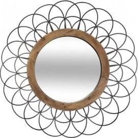 Lustro 90 cm drewno metal ażurowe kwiat