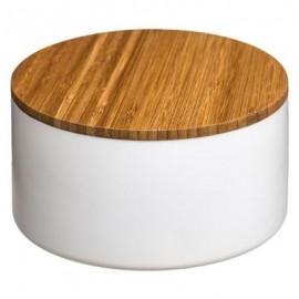 Szkatułka z lusterkiem, pojemnik na kosmetyki biały bambus