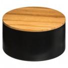 Szkatułka z lusterkiem, pojemnik na kosmetyki czarny bambus