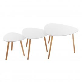STOLIK 3 szt. zestaw stoliki kawowe do salonu białe
