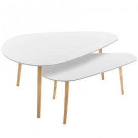 STOLIK 2 szt. zestaw stoliki kawowe do salonu białe