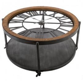 Stolik kawowy Ø 90 cm metalowy zegar blat szkło