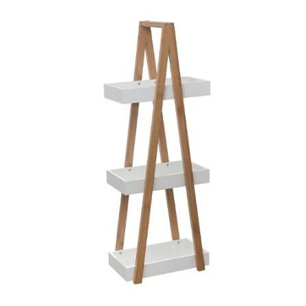 Regał biały 3 poziomy półkami bambus