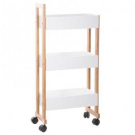 Regał na kółkach biały 3 x półka bambus