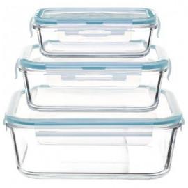 Pojemniki 3 szt. szklane na żywność z zamknięciem