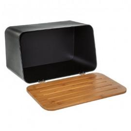 Chlebak czarny z deską bambusową TOP