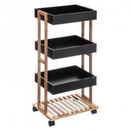 Regał na kółkach czarny 4 x półka bambus