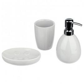 Dozownik do mydła mydelniczka kubek zestaw biały