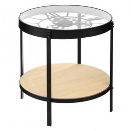 Stolik kawowy Ø 50 cm metalowy zegar blat szkło