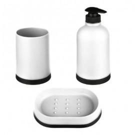 Dozownik do mydła mydelniczka kubek biały zestaw