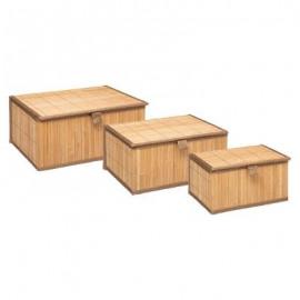Pojemniki 3 szt. bambusowe na żywność z zamknięciem
