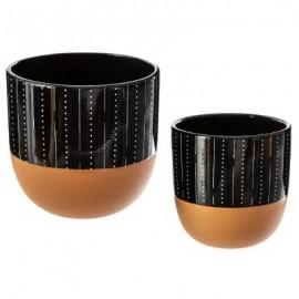 donica doniczka 2 szt zestaw z ceramiki, czarna LINIE