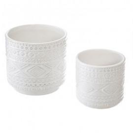 donica doniczka 2 szt zestaw BIAŁE z ceramiki, HIT