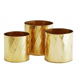 donica doniczka 3 szt komplet osłonka kolor złoty