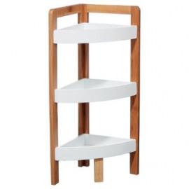 Półka narożna regał bambusowy biały 3 poziomy