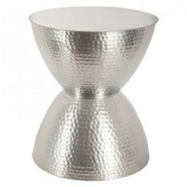 Stolik kawowy klepsydra Ø 37 x 43 srebrny metalowy