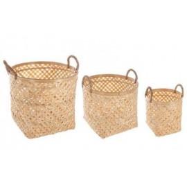 kosz kosze 3 szt ZESTAW z  bambus osłonki