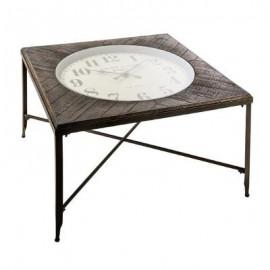 Stolik kawowy 90 cm metalowy zegar LOFT Retro