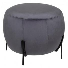 PUFA szara czarne nóżki stołek aksamit TOP !