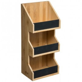 Półka regał bambusowy czarny 3 poziomy