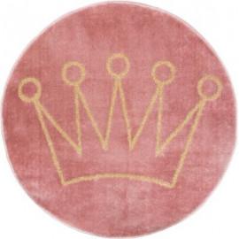 Dywan okrągły różowy korona MIĘKKI , Ø 80 cm HIT