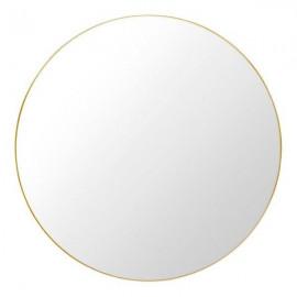 Lustro okrągłe 76 cm złote aluminiowa rama ścienne