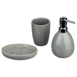 Dozownik do mydła mydelniczka kubek zestaw szary