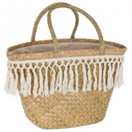 Torba koszyk z trawy morskiej i ozdobnymi frędzlami BOHO