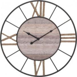 Zegar drewno metal 57 cm  BOHO d60