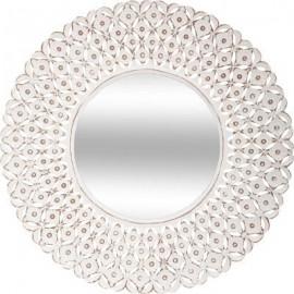 Białe 75 cm ażurowe lustro z drewna
