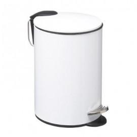 Kosz łazienkowy nowoczesny z pokrywką metal biały