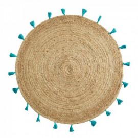 Dywan Ø 120 cm okrągły z juty BOHO biały HIT