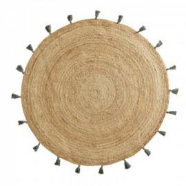 Dywan Ø 120 cm okrągły z juty BOHO khaki HIT