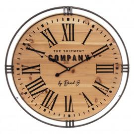 Zegar drewno metal 58 cm...